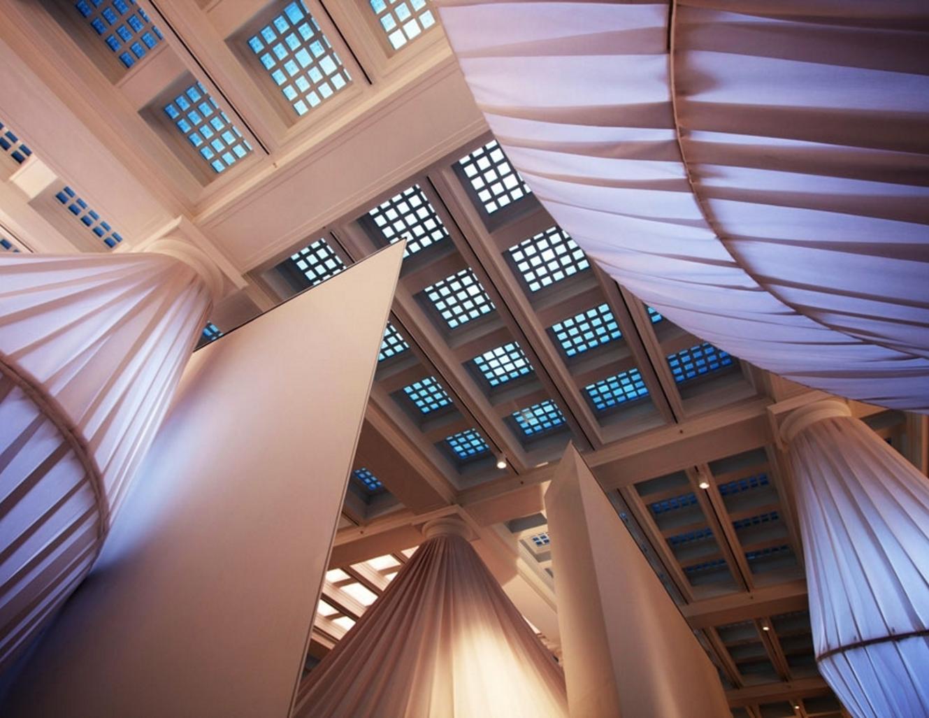 Shot looking up at reOrder art installation at the Brooklyn Museum featuring Sunbrella fabrics