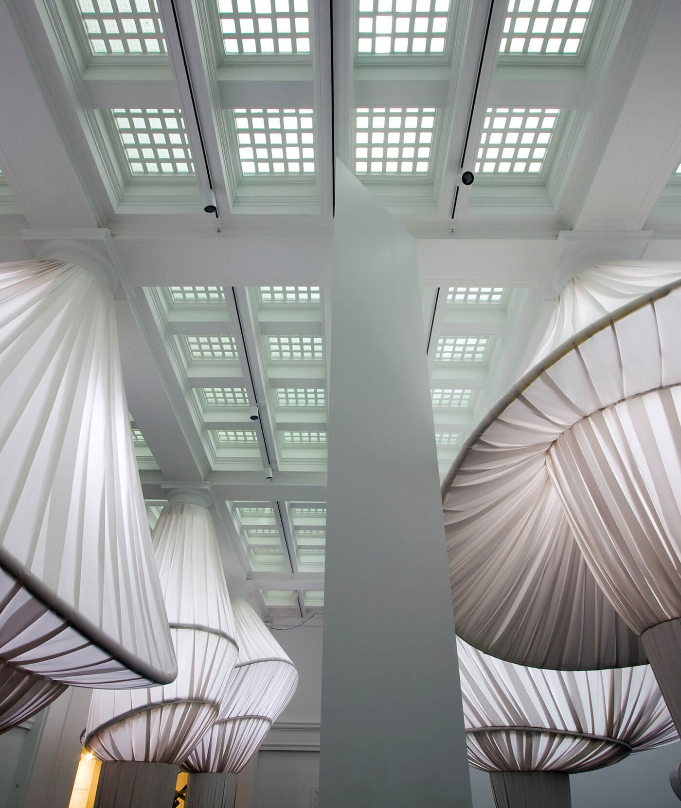The reOrder exhbit at the Brooklyn Museum created art using 2000 yards of Sunbrella fabrics
