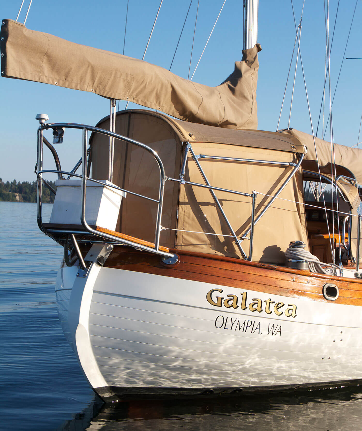 Galatea sailboat featuring sailcover and enclosure made using Sunbrella fabrics