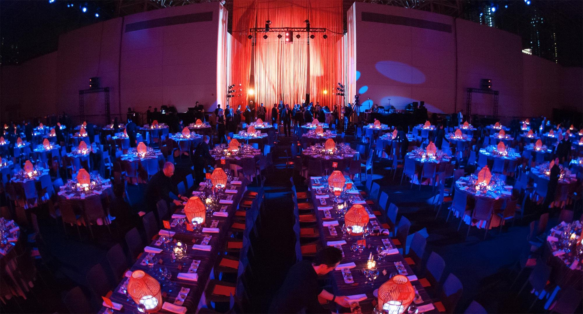 Panoramic view of Interior Design's Hall of Fame banquet hall.