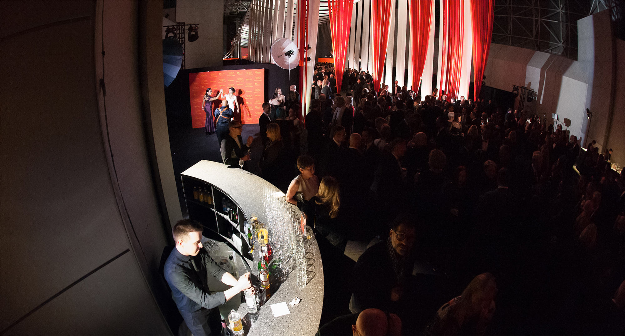 Aerial shot of VIP lounge area at Interior Design's Hall of Fame.