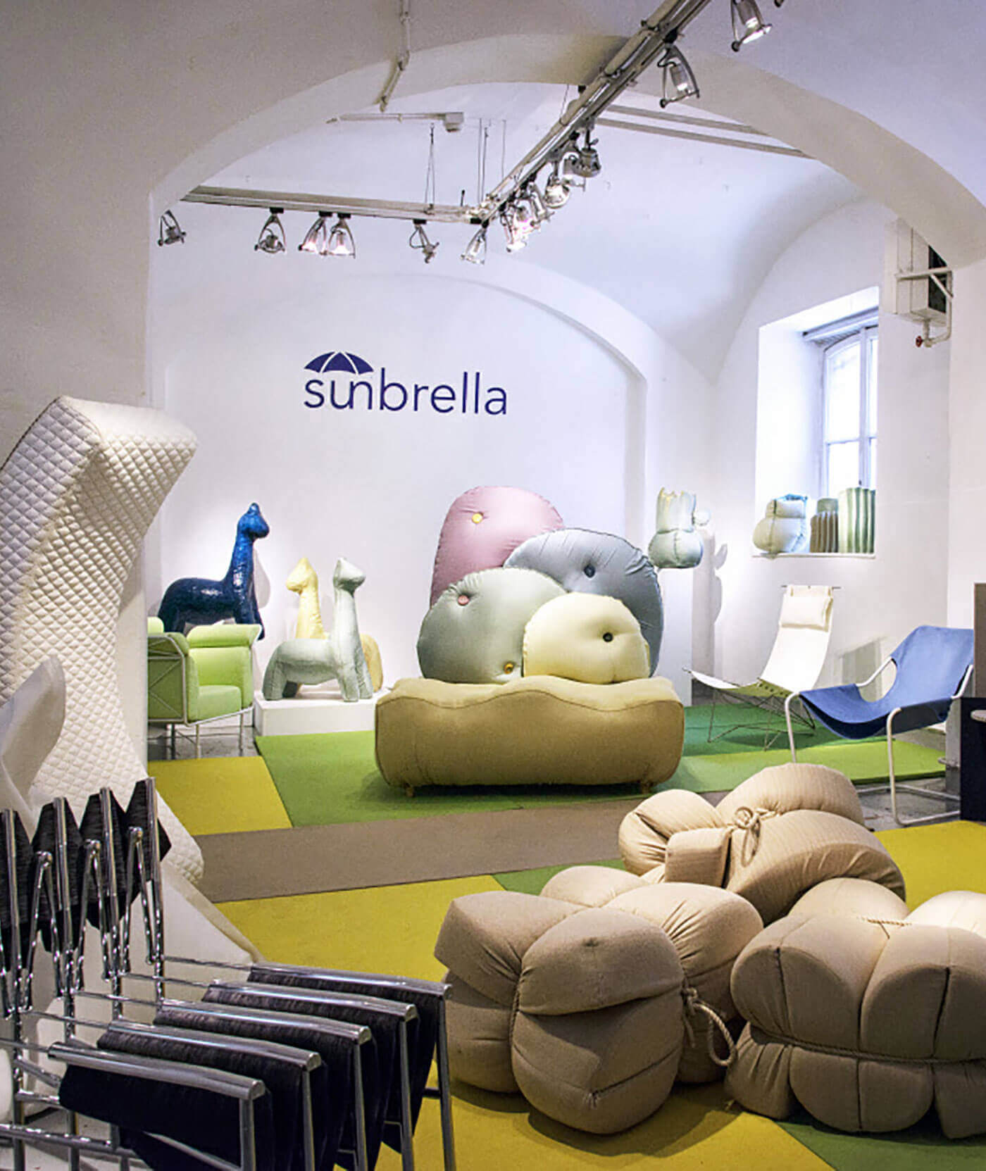 Pieces made out of Sunbrella fabrics at the Rosana Orlandi Gallery in Milan, Italy