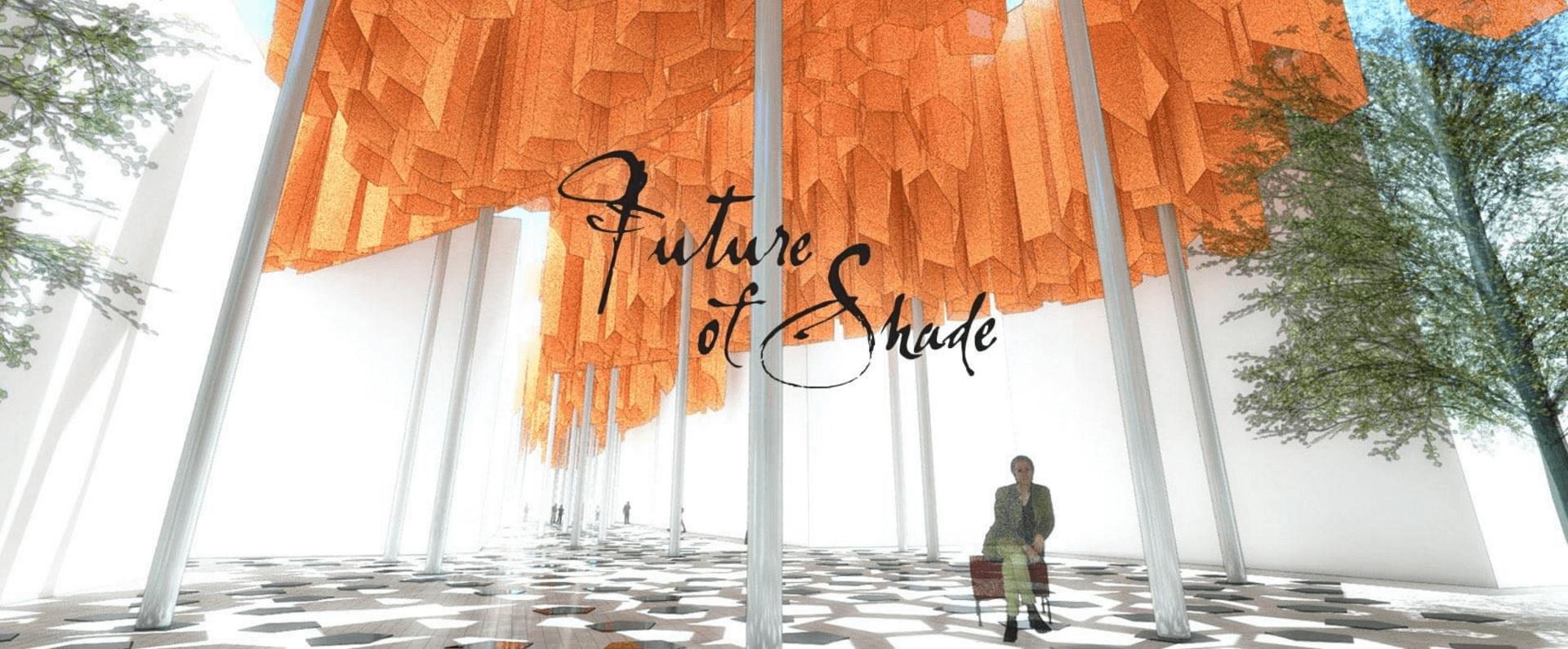 Future of Shade concept featuring hanging orange structures of Sunbrella fabrics